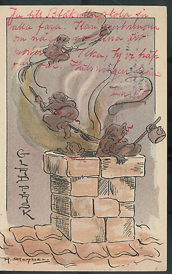 $ CDN48.39 • Buy Vintage Halloween A. Stenberg Witches On Brooms Chimneyrare! Pre1910 (H17