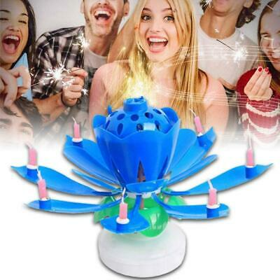 $ CDN6.38 • Buy Blue Rotating Lotus Candle Birthday Flower Musical Floral Cake Candles Hot