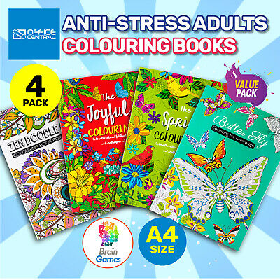 AU16.95 • Buy 4PK Adult Colouring Books A4 Size Fun Relaxing Mindfulness Florals Patterns