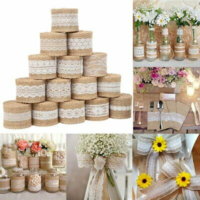 2M Jute Burlap Hessian Ribbon With Lace Trim Edge Wedding Party Rustic Decor DIY • 2.75£