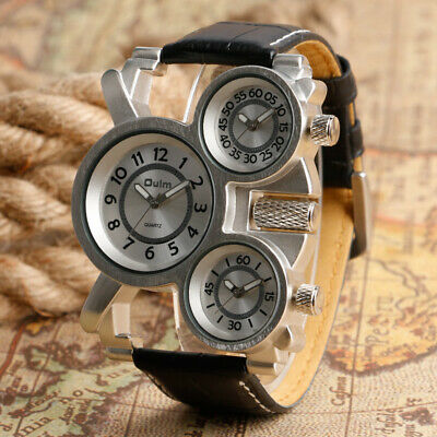 $ CDN19.02 • Buy OULM Army Multi-Function Leather Band Three Time Zones Outdoor Men Wrist Watch