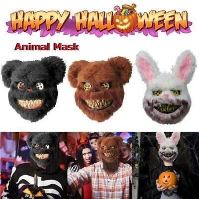 Masquerade KILLER BEAR MASK HORROR SCARY ANIMAL FANCY DRESS COSPLAY ACCESSORY • 7.42£