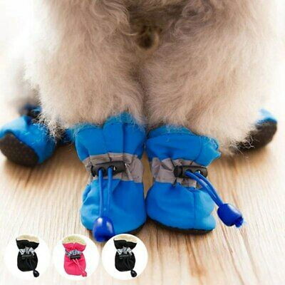 Winter Pet Dog Snow Boots Puppy Soft Anti-slip Warm Shoes Sneakers Booties 4 Pcs • 5.59£