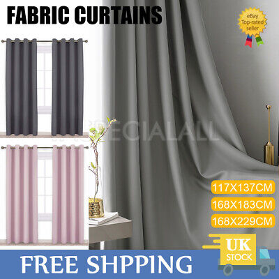 2 Panels Thick Thermal Blackout Curtains Pair Ready Made Eyelet Ring Top Fabric • 18.79£