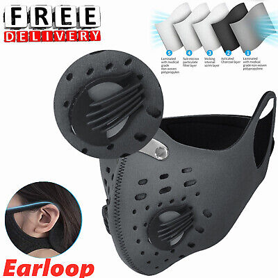 UK Face Mask Reusable Washable Anti Pollution PM2.5 Two Air Vent With Filter TOP • 5.89£