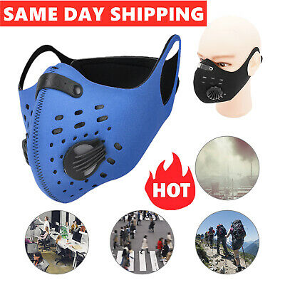 Face Mask Two Air Vent Reusable Washable Mask Anti Pollution PM2.5 With Filter 1 • 5.29£
