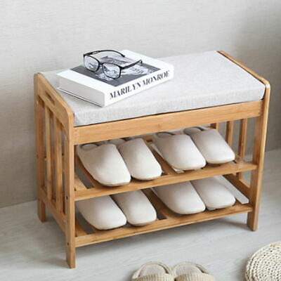 £38.12 • Buy Bamboo Wood Shoe Bench Shoes Cabinet Organizer Hallway Storage Rack With Seat