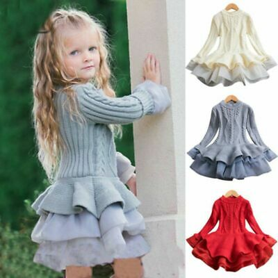 Kids Baby Girls Princess Sweater Dress Toddler Winter Long Sleeve Party Tutu • 12.71£