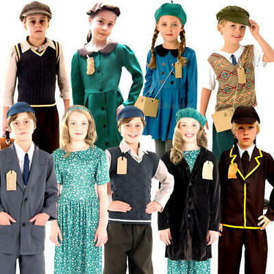 £13.99 • Buy Wartime Kids Fancy Dress Book Day 1930s 40s Childrens Boys Girls Costume Outfits