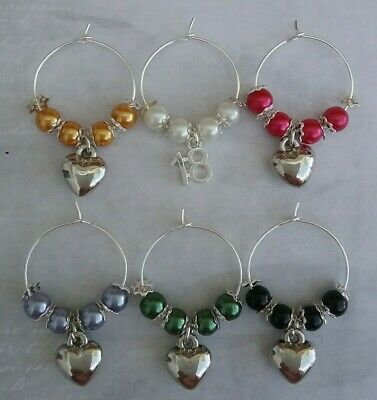 6 X  Prosecco/Wine Glass Charms - 18th Birthday Gift/Party/Decoration. HEARTS. • 2.50£
