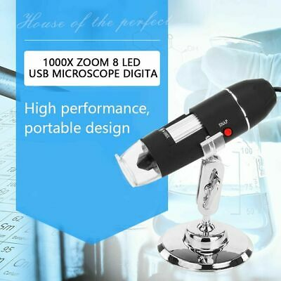 8LED USB2.0 Digital Microscope 1000X Zoom Endoscope Camera Magnifier With Stand • 9.28£