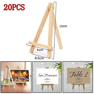 20X Small Wooden Easel Stand Mini Table Desktop Art Crafts Wedding Photo Display • 15.30£