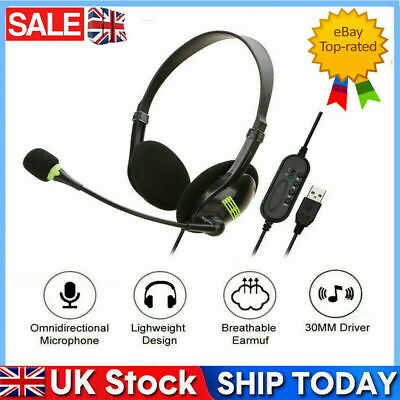 NEW USB Headphones With Microphone Noise Cancelling Headset For Skype Laptop • 6.88£