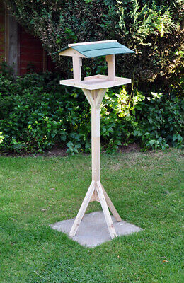 Traditional Wooden Bird Table Green Roofed Free Standing Bird Feeding Station • 12.45£