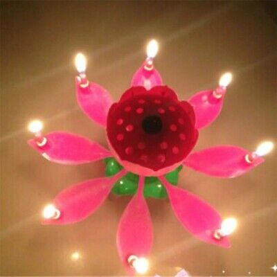 $ CDN13.49 • Buy ROTATING Lotus Birthday Flower Candle Musical Floral Cake Candles