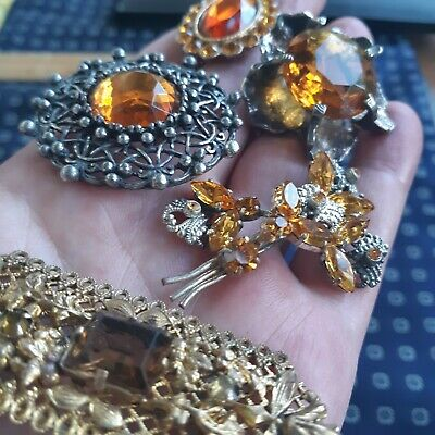 $ CDN58 • Buy Antique Vintage Jewelry Lot Brooches  Citron Colored Stones Filigree Art Nouveau