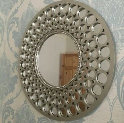 Moroccan Large Silver Round Wall Mirror Art Deco Metallic Silver Round Mirror • 27.95£