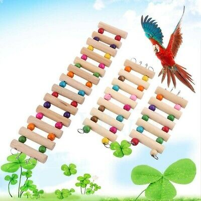 Wooden Bird Hamster Climb Ladder Swing Bridge Shelf Pet Parrot Rat Play Toy • 3.99£