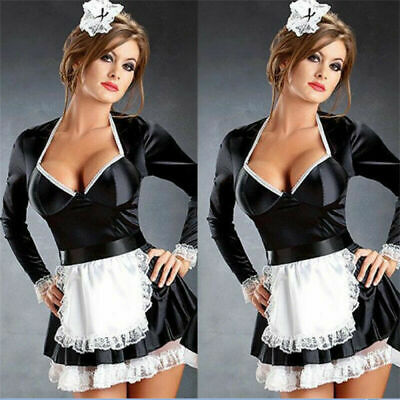 £7.99 • Buy Black French Maid Waitress Fancy Dress Servant Beer Wench Girl Outfit M-4XL Xmas