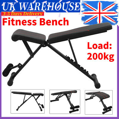 Foldable Fitness Bench 7 Level Adjustable Body Workout Weight Exercise Bench Gym • 56.99£