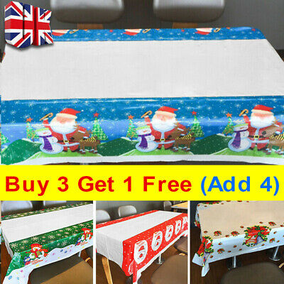 Christmas Themed Table Cloths PVC Easy Wipe Clean Tablecloth Xmas Party Cover Y • 2.99£