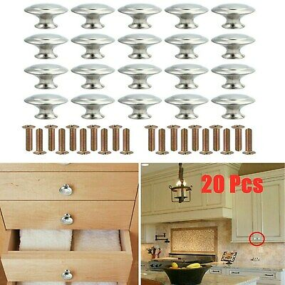 20X Door Handles Cabinet Knobs Cupboard Drawer Kitchen Stainless Steel Chrome • 7.59£