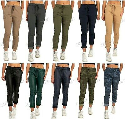 Women's Casual Stretch Magic Trousers Joggers Italian Camouflage/Leather Look • 15.99£