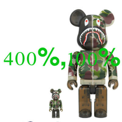 $495 • Buy  BE@RBRICK BAPE APE Clear Abc Camo Shark Green100% & 400% Set MEDICOM TOY