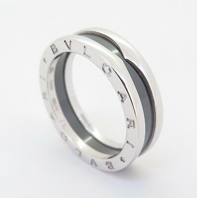 AU650 • Buy .auth Bvlgari Sterling Silver & Black Ceramic B Zero 1 Ring Size 62 +papers