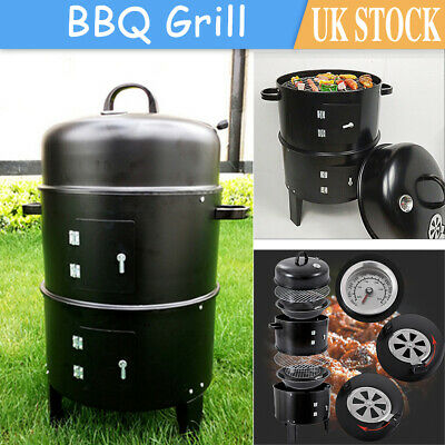 3 In 1 Charcoal Barbecue Smoker Outdoor Garden BBQ Grill With Temperature Gauge • 34.99£