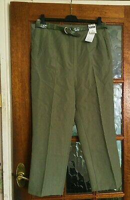 BNWT BERKERTEX Mid SAGE FERN OLIVE GREEN MOCK CROC BELTED STRAIGHT Trousers 14 • 4.99£