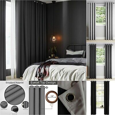 Thick Thermal 100% Blackout Curtain Eyelet Ring Top Ready Made Pair Lined Panel  • 13.99£