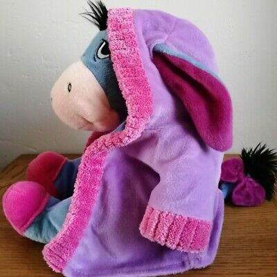 Disney Winnie The Pooh Eeyore Soft Toy Plush With Adjustable Pink House Gown • 7.99£