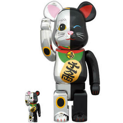 $345.99 • Buy Be@rbrick Medicom 400% 100%  Bearbrick Lucky Cat Black Silver Version SKy Tree