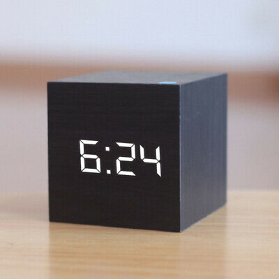 Digital Alarm Clock Wooden LED Temperature Electronic Voice Control Table Clocks • 7.69£
