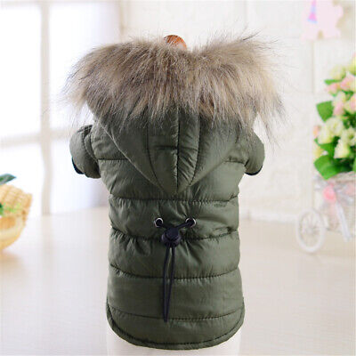 Warm Padded Dog Coat Jacket Chihuahua Pet Winter Hoodie Puppy Cat Clothes Outfit • 8.12£