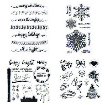 XMAS Clear Stamps Transparent Silicone Stamp Stencil Embossing Scrapbook UK • 2.59£