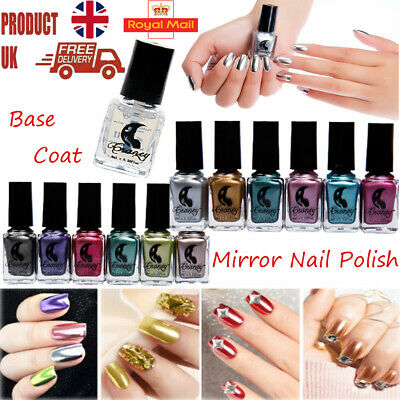 Metal Silver Mirror Gel Polish Lacquer Varnish Manicure Nail Art Base Top Coat • 2.99£