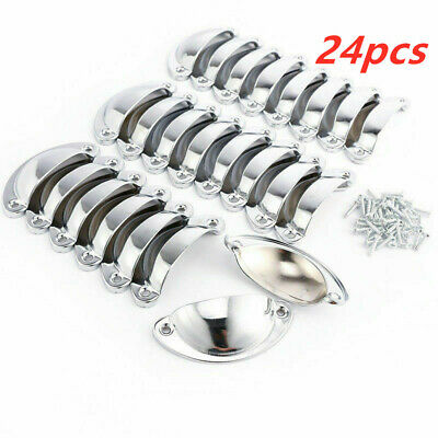 24pcs Shell Cup Handles Chrome Iron Half Moon Vintage Cupboard Drawer Pull Door • 6.89£