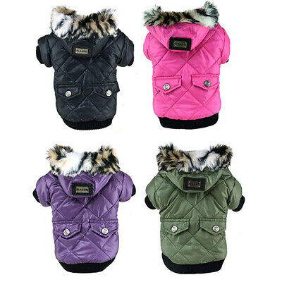 Warm Winter Coat Pet Small Dog Puppy Jacket Clothes Apparel Outerwear Hoodie • 8.99£