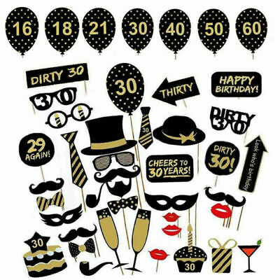 £3.39 • Buy 36pcs Birthday Party Photo Booth Props Party Decor Selfie 16/18/21/30/40/50/60th