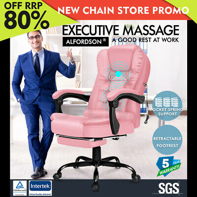 AU139.95 • Buy ALFORDSON Massage Office Chair FOOTREST Executive Gaming Racing Seat Pink PU