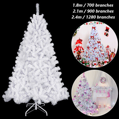 6ft/7ft White Artificial Christmas Tree Traditional Bushy Xmas Home Decoration • 32.99£