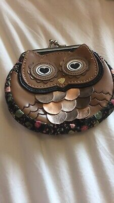 Owl Purse Chic Gold Black Coin Wallet • 0.99£