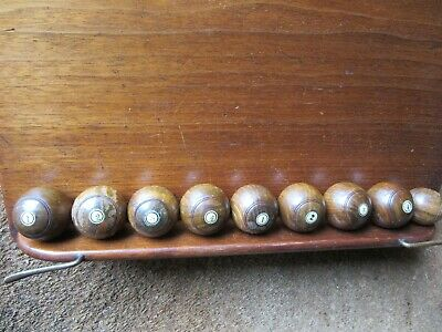 Carpet Wooden Bowls Set 8 + 1 Jack Numbered 1-4 X Two Players VGC • 90£