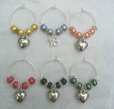 6 X  Prosecco/Wine Glass Charms - 18th Birthday Gif/Decoration/Party. HEARTS. • 2.50£