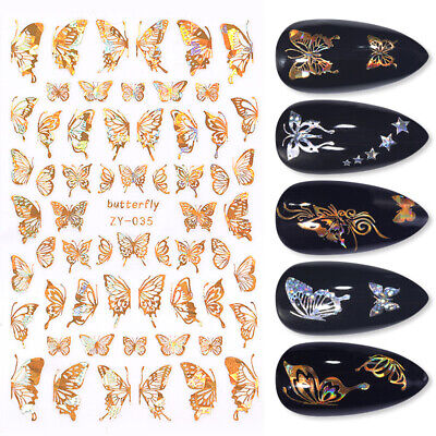 3D Nail Stickers Gold Holographicsss Butterfly Maple Leave Decals Nail Art Decor • 2.89£