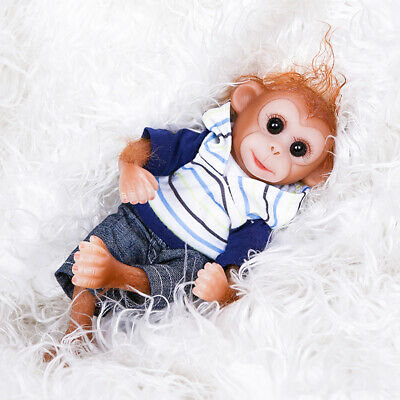 26cm Mini Toy Realistic Monkey Soft Silicone Lifelike Reborn Doll Child Cute • 27.67£