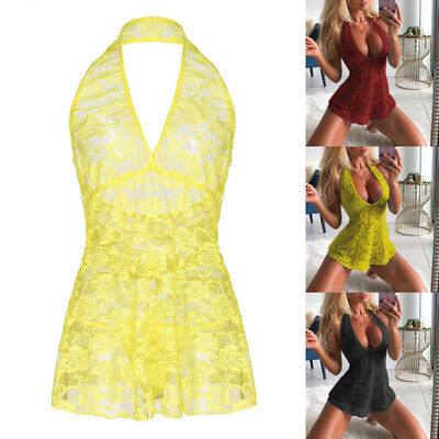 Women Sexy Lingerie Floral Lace Sleepwear Underwear Dress See-Thru Babydoll • 7.39£