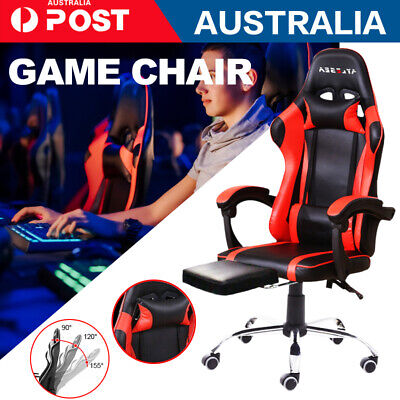 AU133.49 • Buy Gaming Chair Office Seating Racing Computer PU Leather Executive Racer Footrest